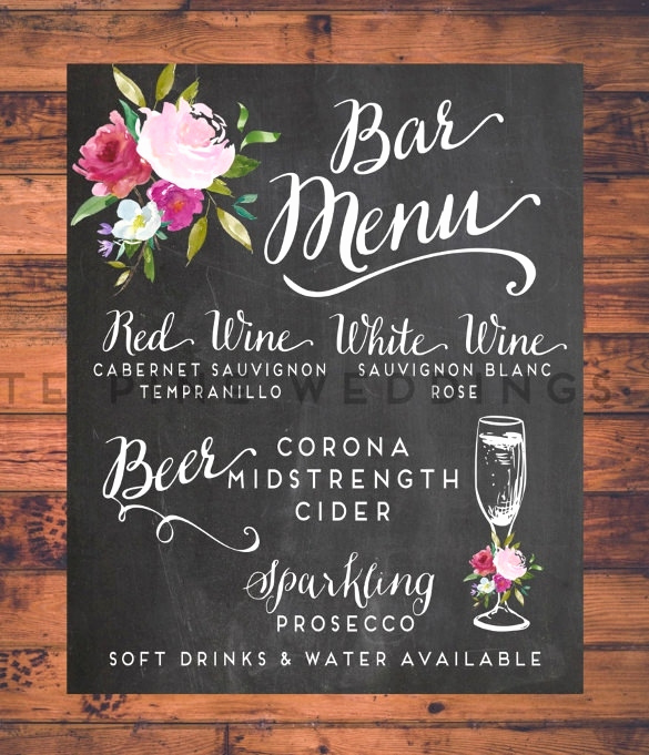 Bar Menu Template Free Lovely Wedding Bar Menu Template