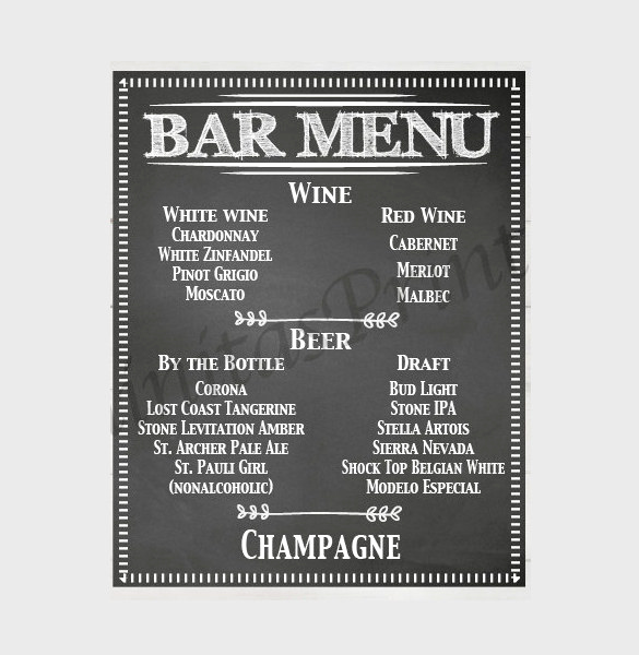 Bar Menu Template Free New 24 Bar Menu Templates – Free Sample Example format