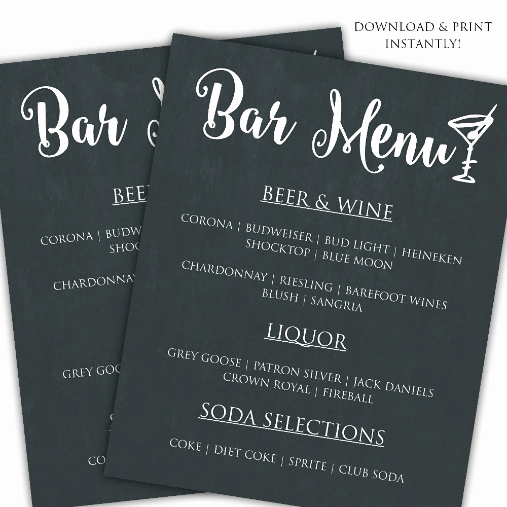 Bar Menu Template Free New Printable Diy Bar Menu Template Posh Pixel Boutique