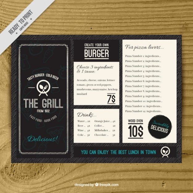 Bar Menu Template Free New Vintage Burguer Bar Menu Template Vector