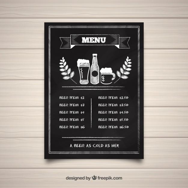Bar Menu Template Free Unique Bar Menu Template In Blackboard Style Vector