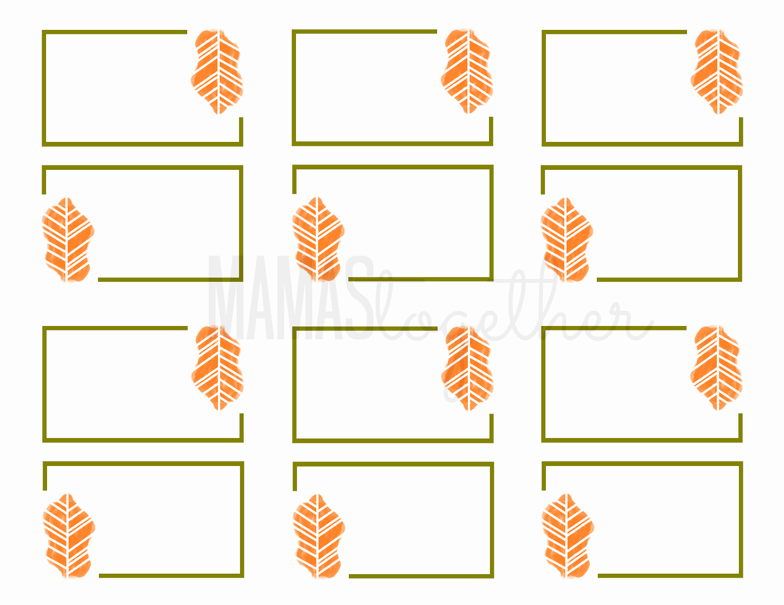 Blank Place Card Template Awesome Mamas to Her Thanksgiving Place Card Printables & Diy