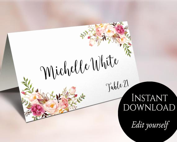 Blank Place Card Template New Wedding Place Cards Place Card Template Editable Reserved