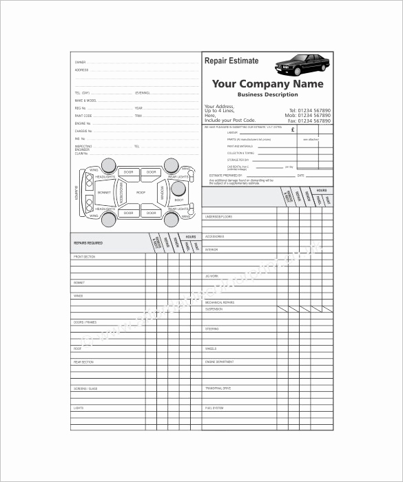 Body Shop Estimate Template Beautiful 20 Repair Estimate Templates Word Excel Pdf
