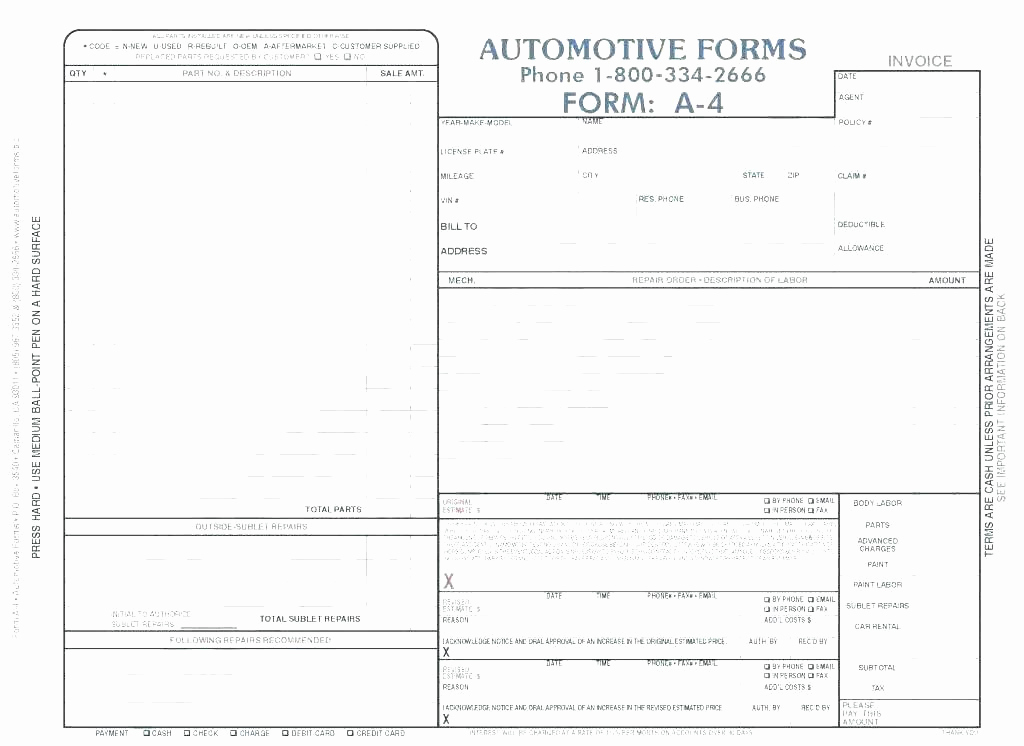 Body Shop Estimate Template Fresh Automotive Repair Invoice Work order Estimates Image Auto