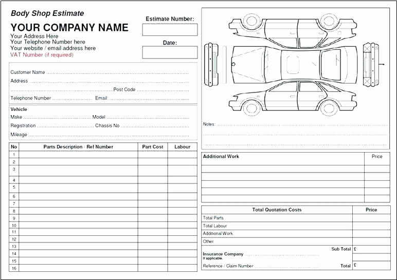 Body Shop Estimate Template Inspirational Auto Body Estimate Sheet Template Shop – Btcromaniafo