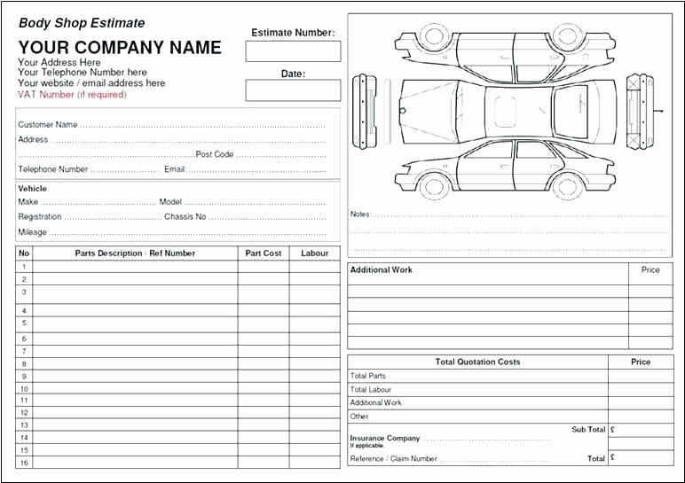 Body Shop Estimate Template Inspirational Auto Body Estimate Sheet Template Shop – Btcromaniafo