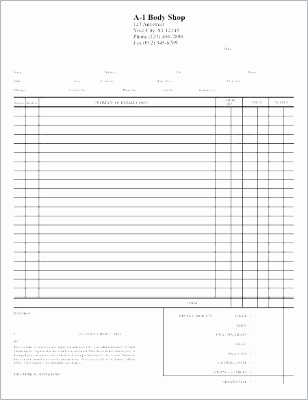 Body Shop Estimate Template Inspirational Auto Body Repair Estimate Template – Amandae