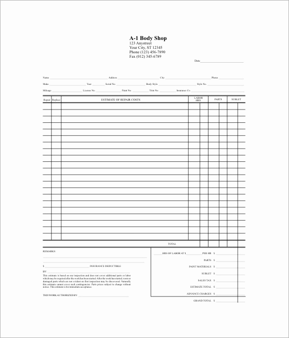 Body Shop Estimate Template Luxury 20 Repair Estimate Templates Word Excel Pdf