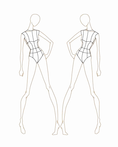 Body Template for Fashion Design Elegant Fashion Sketch Templates