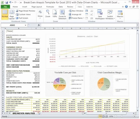 Break even Analysis Graph Template Inspirational Break even Analysis Template for Excel 2013 with Data