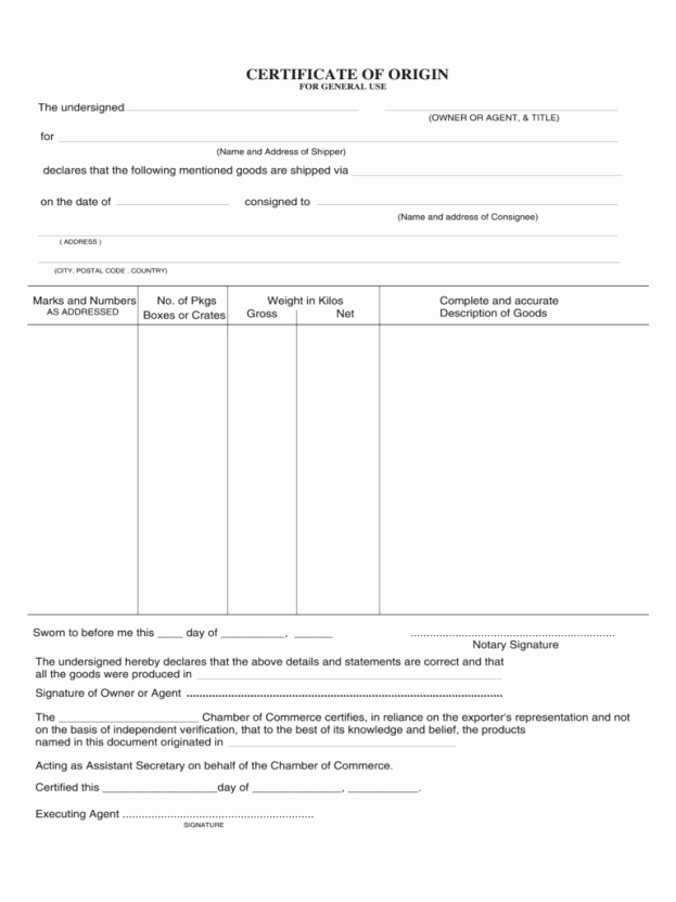 Certificate Of origin Template Excel Awesome Blank Certificate origin form Example Mughals