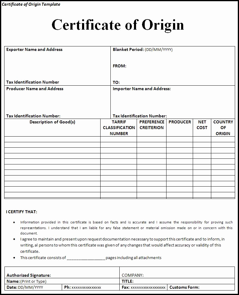 Certificate Of origin Template Excel Beautiful Certificate Of origin