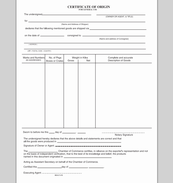 Certificate Of origin Template Excel Fresh Best S Of Meaning Template Certificate Of origin