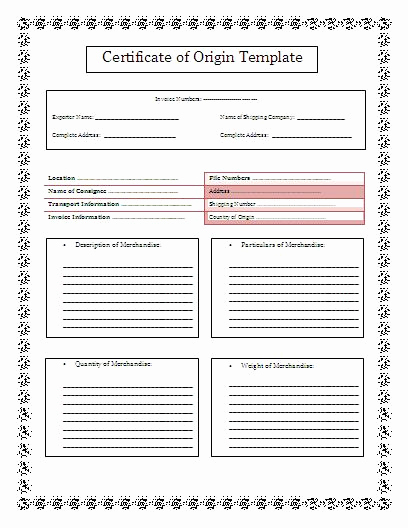 Certificate Of origin Template Excel Inspirational 10 Certificate Of origin Templates