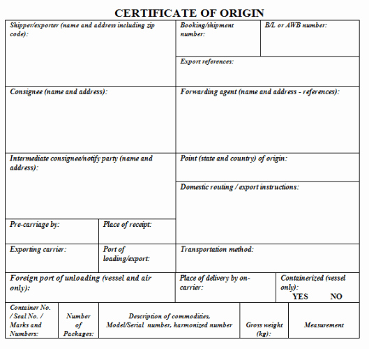 Certificate Of origin Template Excel Lovely 41 Free Certificate Of origin Templates In Word Excel Pdf