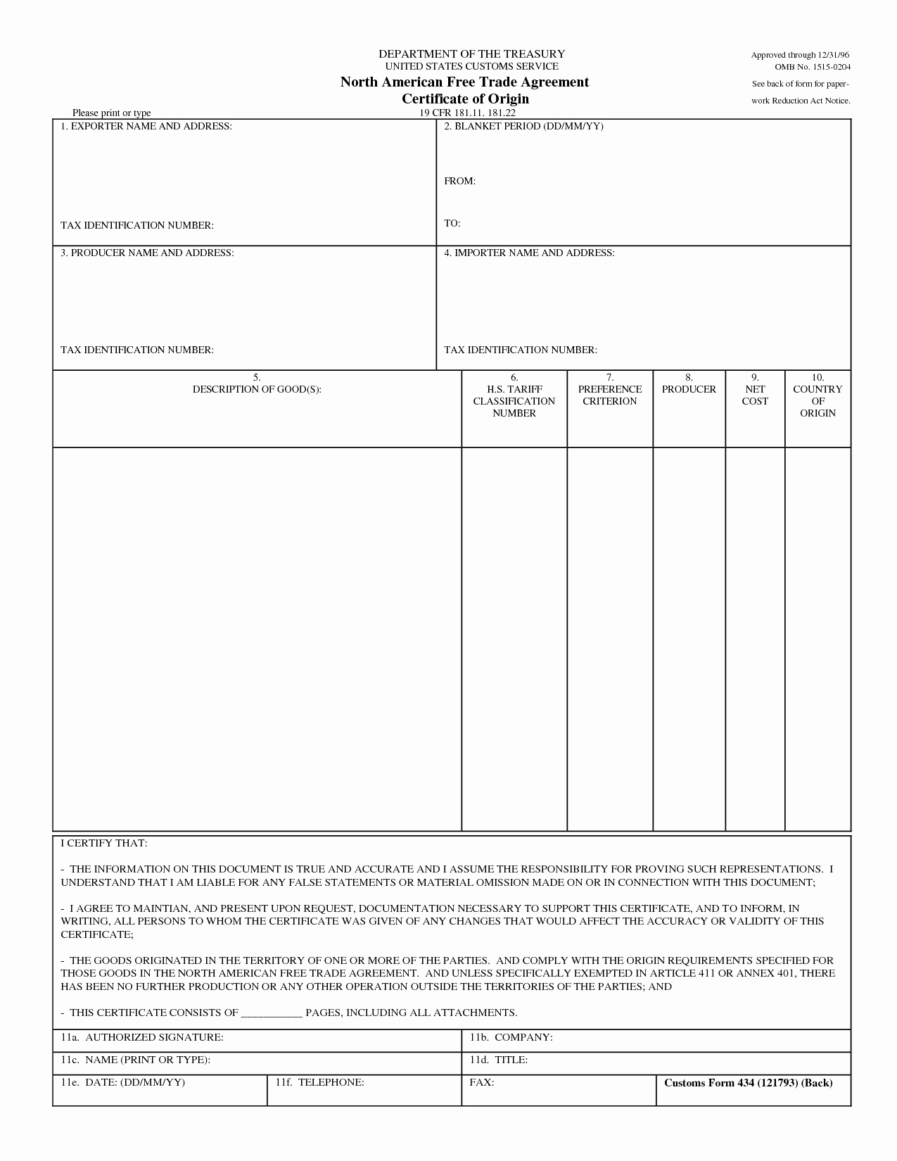 Certificate Of origin Template Excel Lovely Certificate origin Template