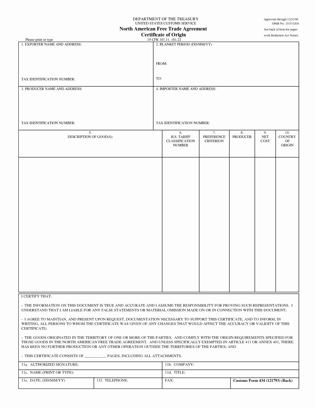 Certificate Of origin Template Excel Lovely Certificate origin Template