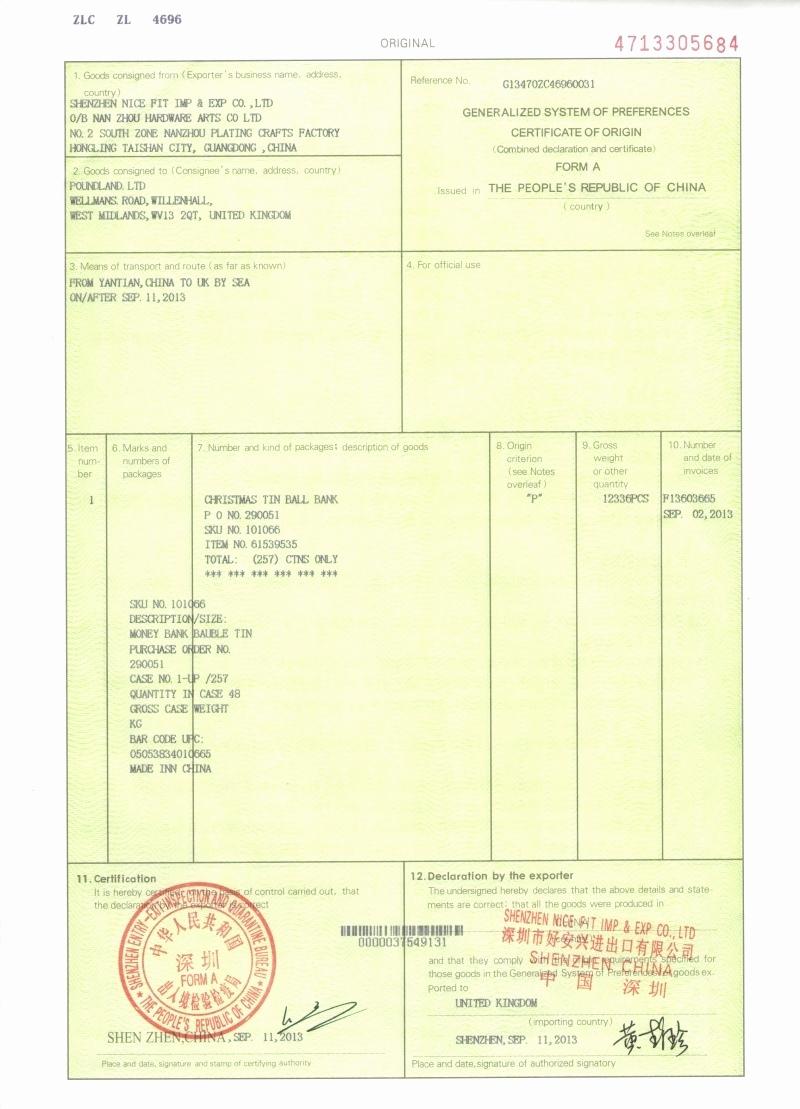 Certificate Of origin Template Excel New Certificate origin Example