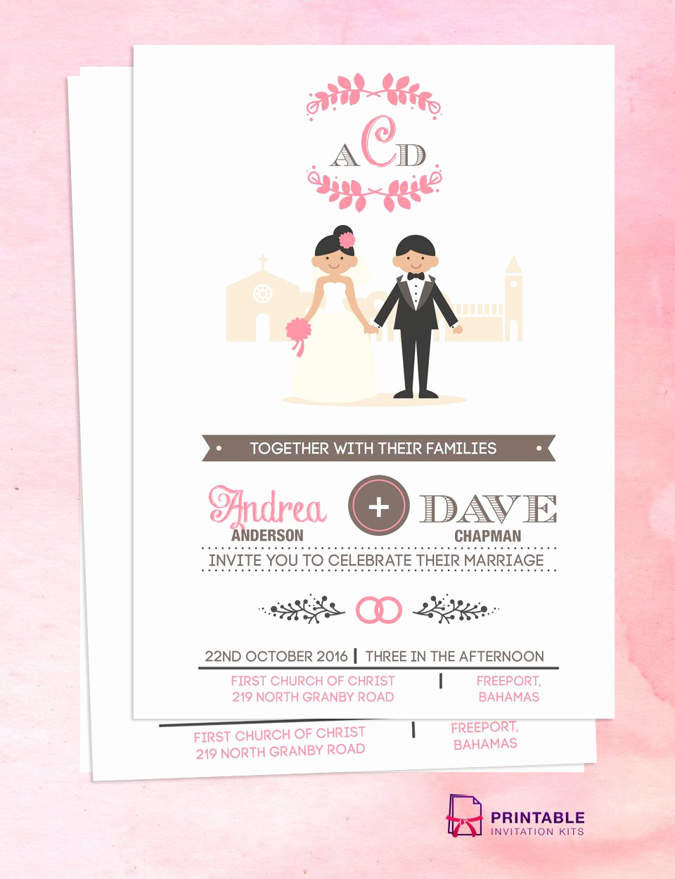 Church Invitation Cards Templates Awesome Illustrated Couple In Front Of Church Wedding Invitation