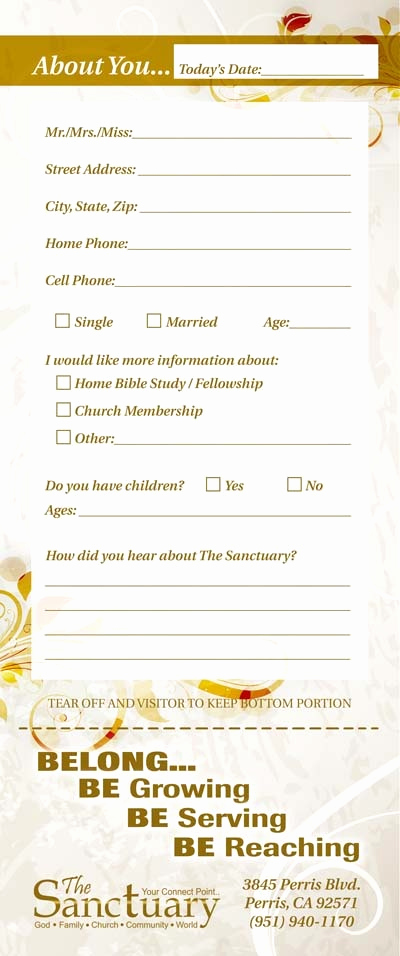 Church Visitor Card Template Word Beautiful Church Guest Card Back