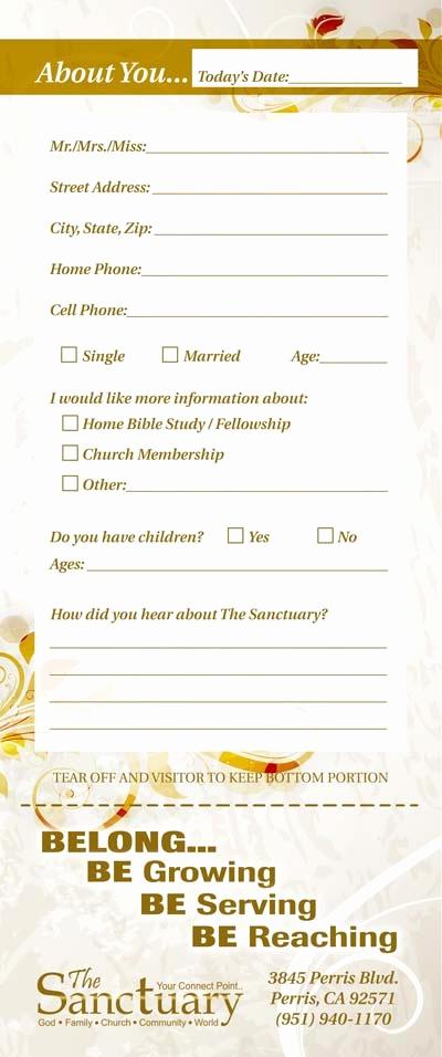 Church Visitor Card Template Word Beautiful Church Guest Card Back