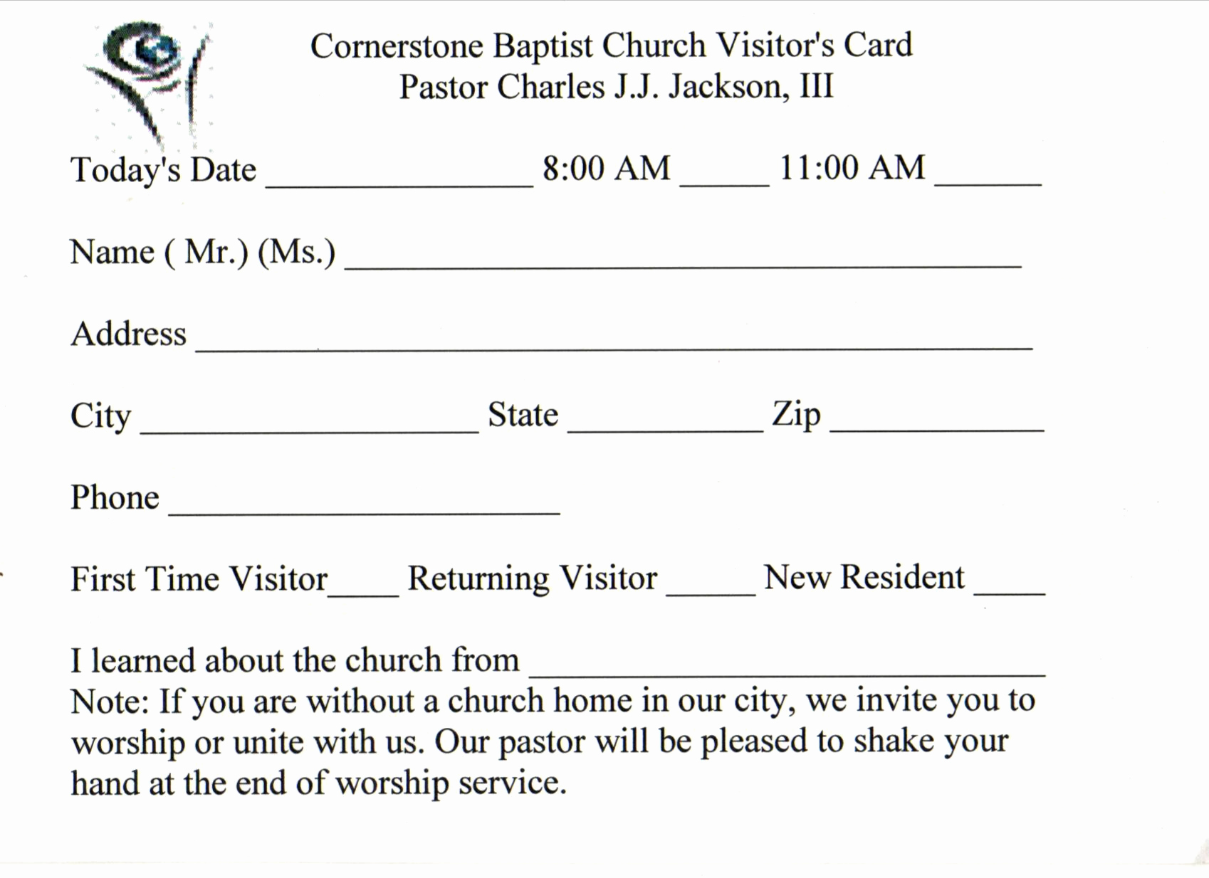 Church Visitor Card Template Word Best Of 3 Best Of Church Visitor Card Template Church
