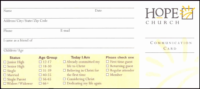 how to church visitor contact information