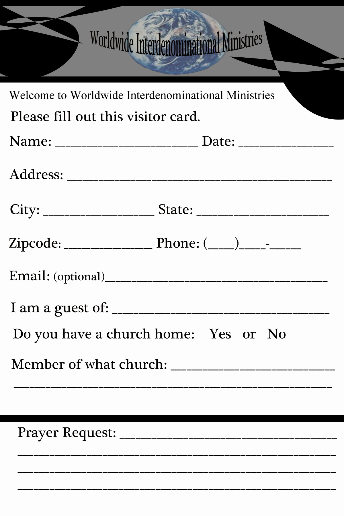Church Visitor Card Template Word Elegant Our Portfolio