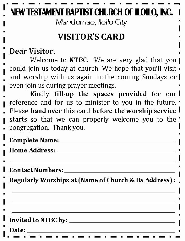 Church Visitor Card Template Word Elegant Revised Visitor's Card