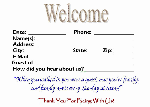 Church Visitor Card Template Word Inspirational Visitor Card Template You Can Customize