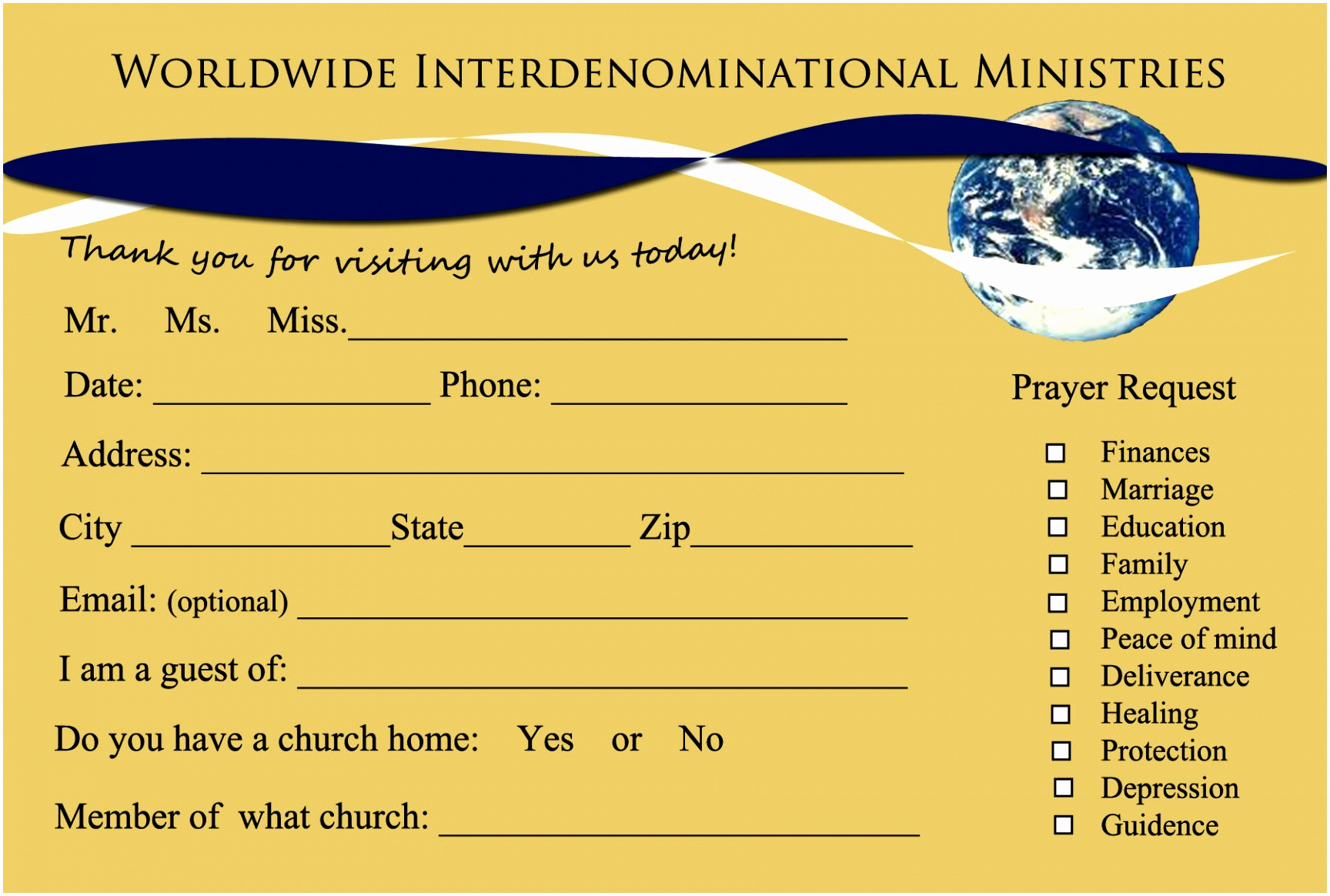 Church Visitor Card Template Word Lovely Church Connection Cards Full Color Printing Simple Free