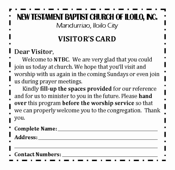 Church Visitor Card Template Word Lovely Ntbc forms