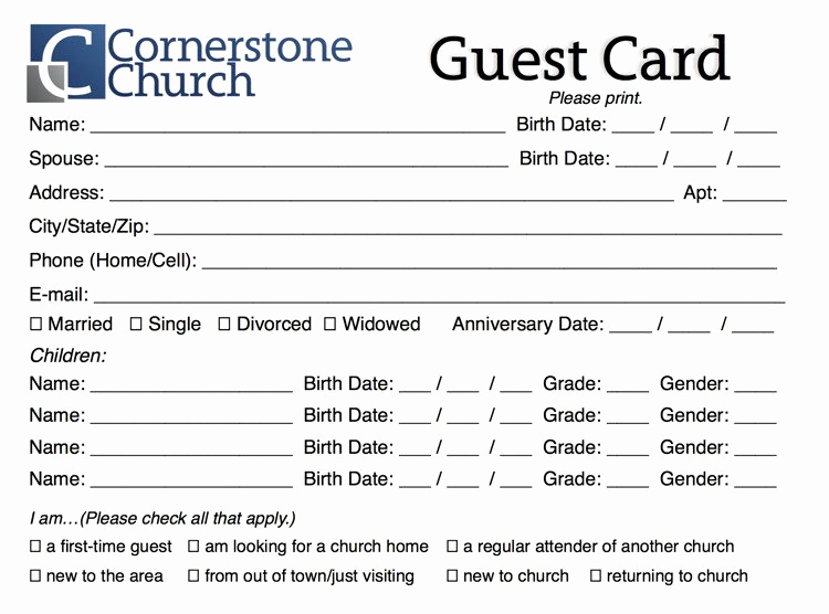 Church Visitor Card Template Word Luxury Free Church Guest Card Template Churchmag