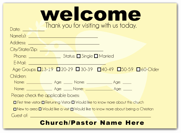 Church Visitor Card Template Word Luxury How to Make A Church Wel E Pack