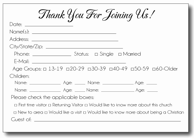 Church Visitor Card Template Word Unique 35 Awesome Visitor Card Images Church