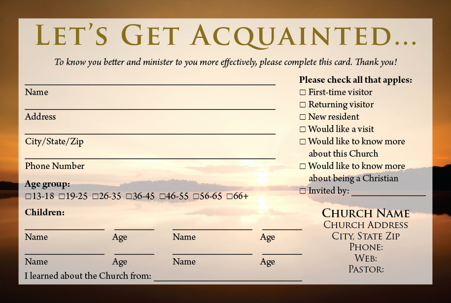 Church Visitor Card Template Word Unique Church Visitor Information Card Template