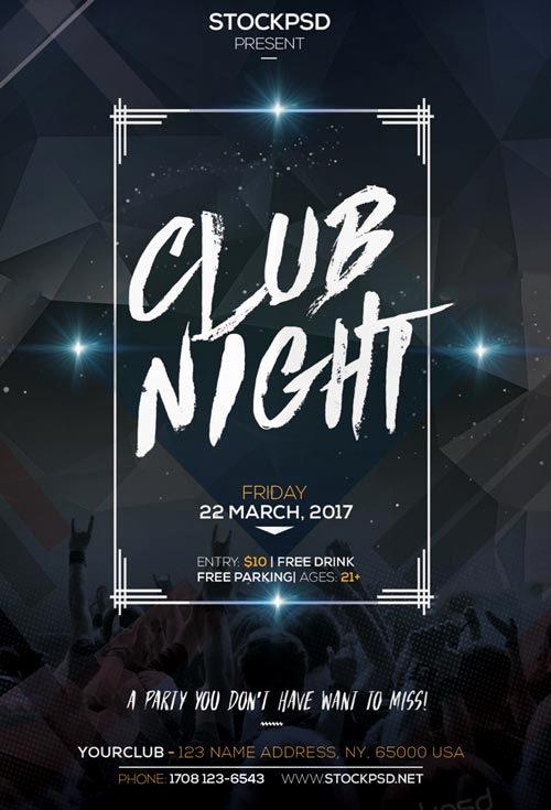 Club Flyer Templates Free Awesome Club Night Party Free Flyer Psd Template Download