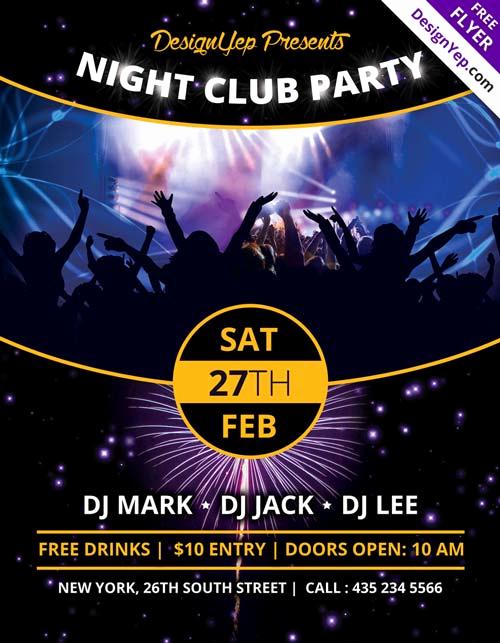 Club Flyer Templates Free Awesome Download Nightclub Party Free Psd Flyer Template