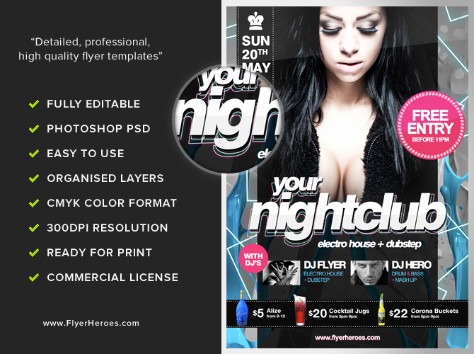 Club Flyer Templates Free Inspirational Free Nightclub Flyer Template Flyerheroes