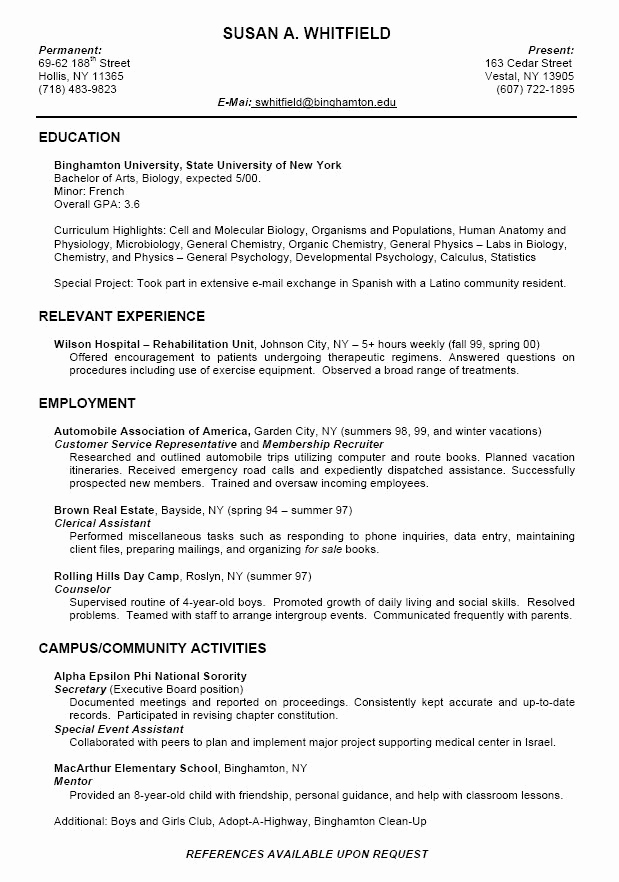 College Admission Resume Template Awesome College Application Resume Examples for High School