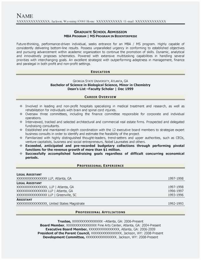 College Admission Resume Template Beautiful Graduate School Application Resume Sample Best Graduate