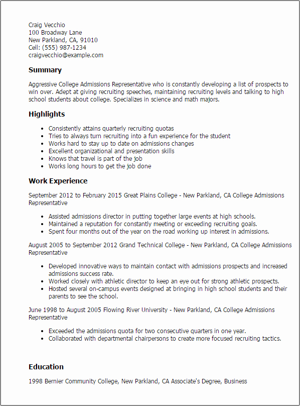 College Admission Resume Template Best Of Professional College Admissions Representative Templates