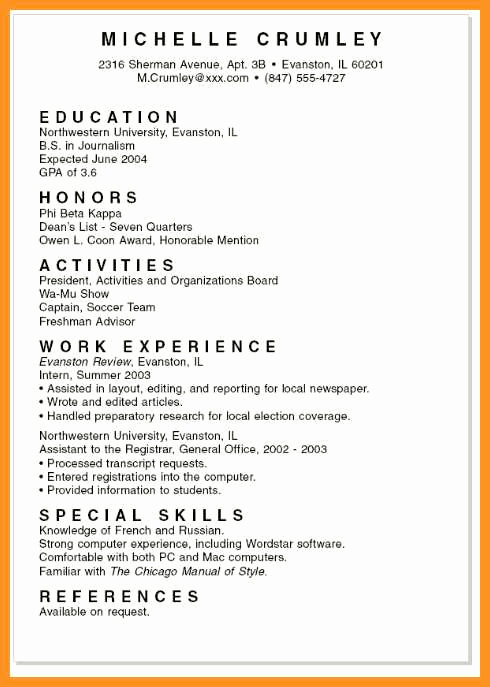 College Admission Resume Template Fresh 9 10 Examples Of Student Resumes for College