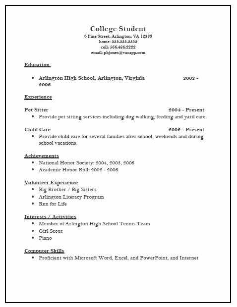 College Admission Resume Template Inspirational College Admissions Resume Samples Best Resume Collection