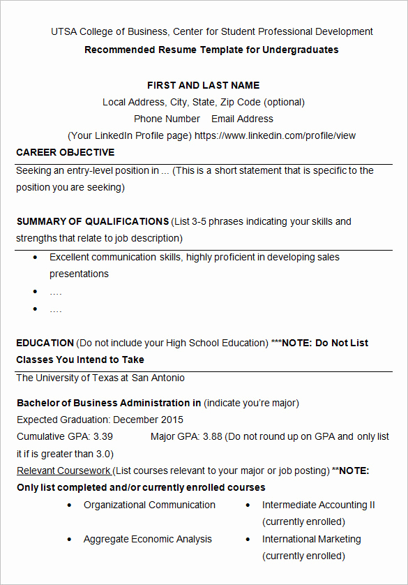 College Admission Resume Template Lovely 10 College Resume Template Sample Examples