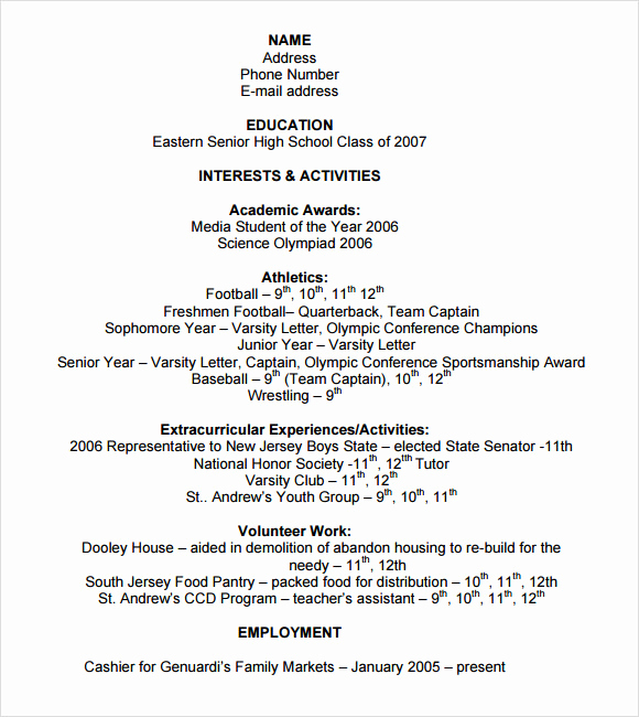 College Admission Resume Template Lovely 9 Sample College Resume Templates – Free Samples