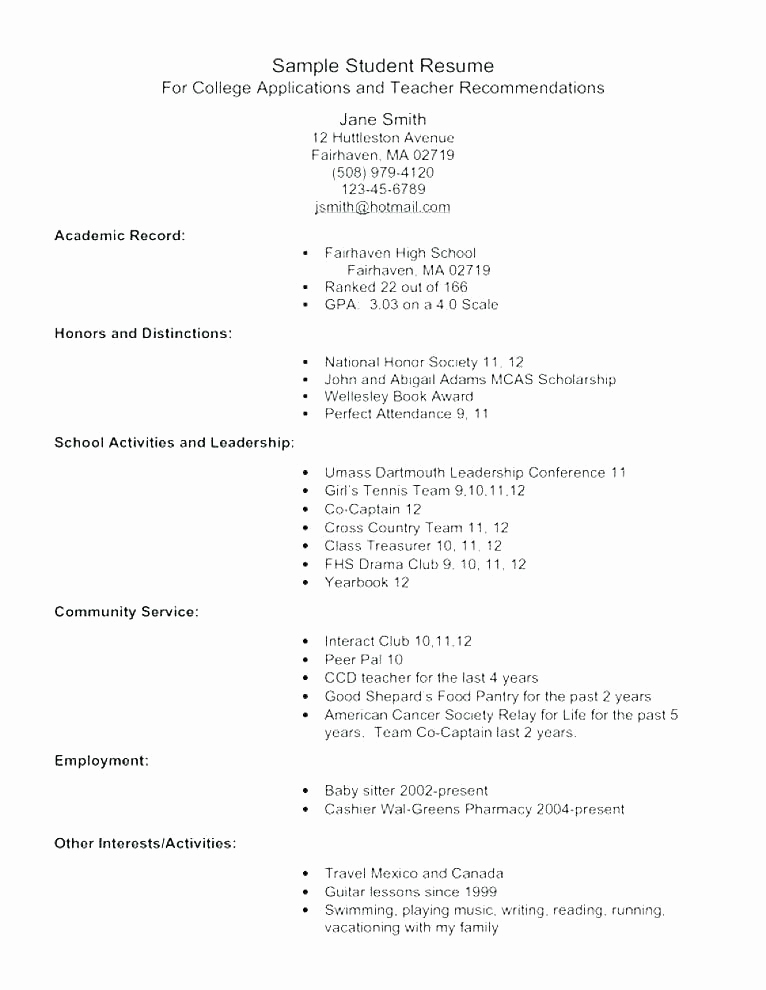 College Admission Resume Template Lovely College Application Resume Outline – Gyomorgyurufo