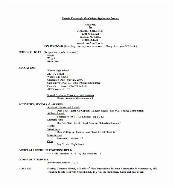 College Admission Resume Template Unique 12 College Resume Templates Pdf Doc