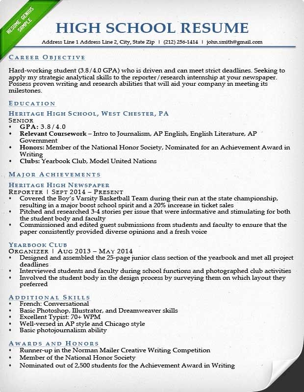 College Admission Resume Template Unique College Application Resume Examples for High School